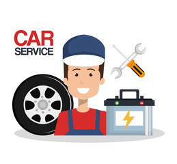 mechanic car service icons vector illustration design