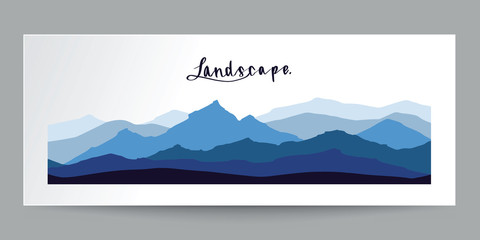 Hand drawn flat design, mountains landscape with calligraphy, illustration vector design.