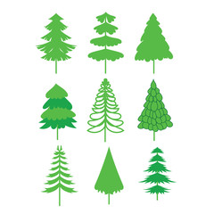 Christmas Tree icon collection. Vector Illustration