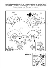 Connect the dots picture puzzle and coloring page with toy classic car and bear mechanics. Answer included.