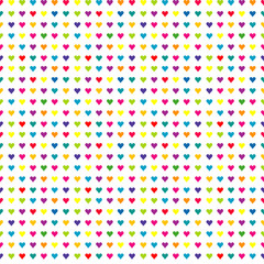 Colorful seamless pattern with simple hearts