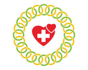 red heart medical healthcare pharmacy hospital clinic icon image vector
