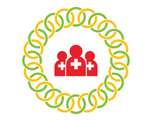 red doctor figure silhouette medical healthcare pharmacy hospital clinic icon image vector