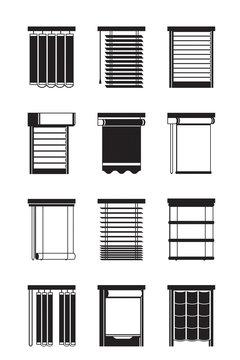 Different interior blinds - vector illustration