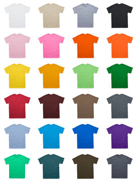 Blank T Shirt color set template on white background