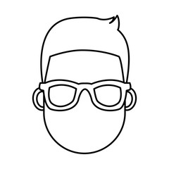 Young man cartoon with sunglasses icon vector illustration graphic design