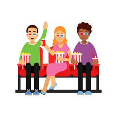 Happy friends sitting in the cinema with popcorn and watching 3d movie vector Illustration