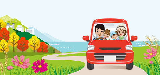 Car driving in the Autumn road, Front view -Family