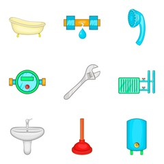 Bathroom cleaning icon set, cartoon style
