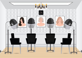 Hood hair dryer in beauty salon with poster hair style in salon interior.