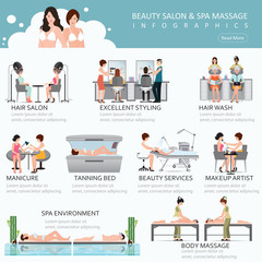 People in spa beauty salon and various beauty procedures.