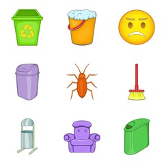 Garbage bins icon set, cartoon style
