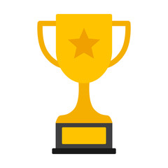 Gold achievement trophy with star for winning championship flat vector icon or illustration