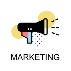 Megaphone icon for marketing on white background