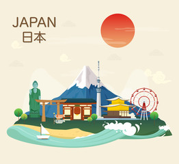 Japanese famous landmarks and tourist attractions in Japan illustration.vector