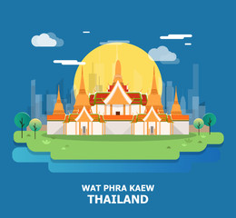 Wat Phra Kaew beautiful temple in Thailand vector and illustration design