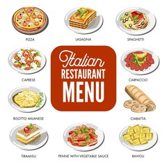 Italian food cusine dishes pizza, pasta, meat and dessert vector icons set