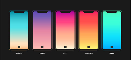 Trendy gradient swatches. Collection palettes of gradient swatches for mobile app, business infographic, social media, flat web design, wallpaper. Modern UI, GUI screen background. Vector Illustration