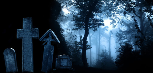 Medieval stone crosses and tombstones, cemetery in misty forest Wall mural
