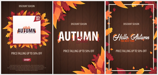 Set of Autumn Background with leaves for shopping sale or promo poster and frame leaflet or web banner. Vector illustration template.