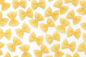 Pasta farfalle close-up, on white background