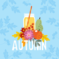 Hand drawn autumn party greeting card, invitation with cocktail drink in a glass jar. Apple, pear fruit and berries and mums flowers and colorful leaves. Fall concept. Vector illustration, web banner.