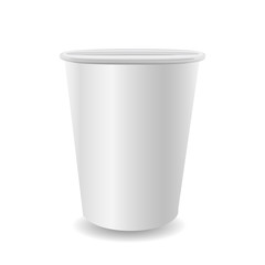 Realistic paper coffee cup on white background.