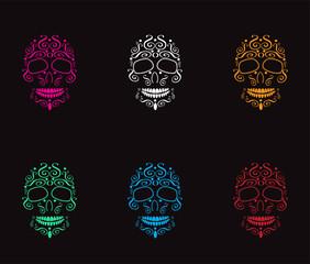 Skull icon background neon color