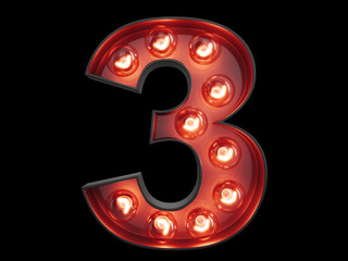 Light bulb digit alphabet character 3 three font