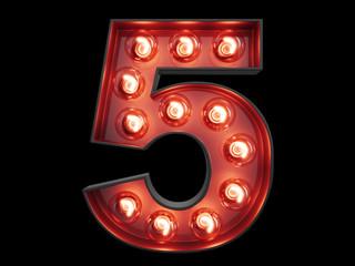 Light bulb digit alphabet character 5 five font
