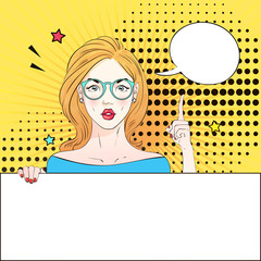 Pop Art Vintage advertising poster comic girl in round glasses holds a white banner and finger raised . Comic woman with speech bubble. Vector illustration