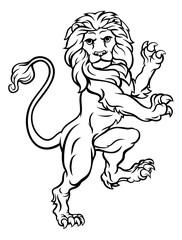 Lion Rampant Heraldic Crest Coat of Arms