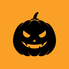Icono plano silueta calabaza Halloween negro en fondo naranja