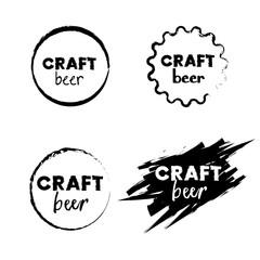 Craft beer signs set. Vector illustration.