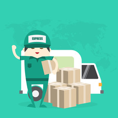 Delivery man hold box,delivery concept vector