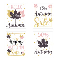 Autumn sale cards/backgrounds in vector