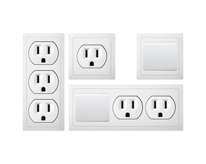 Electrical socket Type B with switch. Power plug. Receptacle from USA.