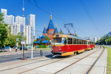 Red retro tram in Moscow