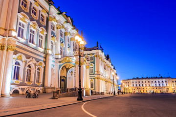 Night view of the Palace Square in St. Petersburg