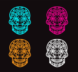 Skull icons neon color vector