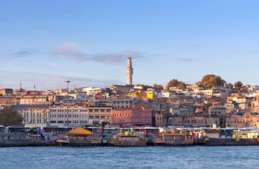 Panoramic cityscape over the Bosphorus in Istanbul, Turkey