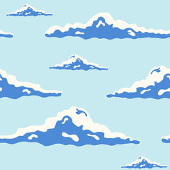 Beautiful seamless pattern with curly clouds of different size in blue sky drawn in pop art style. Backdrop with cloudscape. Modern vector illustration for wallpaper, fabric print, wrapping paper.