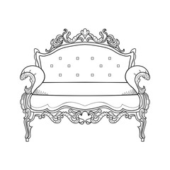 Classic ornamented couch Vector illustration line arts