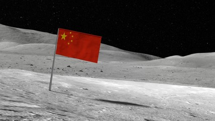 Chinese flag stuck in the rocky moon surface with stars and moonscape