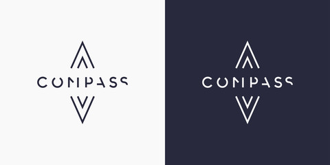 Minimalistic and stylish logo Compass, modern typography and identity for your company.