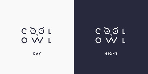 Minimalistic and stylish logo Owl, modern typography and identity for your company.