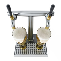 Two glasses of beer under alcoholic beverage taps. 3D illustration