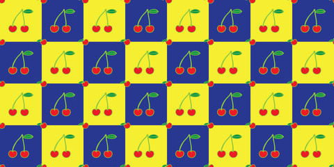 Cherry seamless pattern vector Illustrations