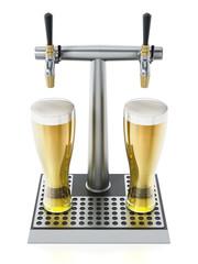 Two glasses of beer under alcoholic beverage taps. 3D illustration