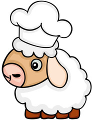 Cute sheep chef with cook hat